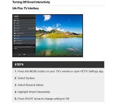 vizio smart tv menu. turn off vizio smart interactivity tv menu d