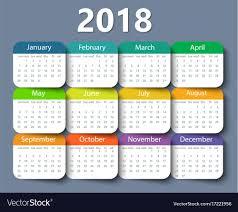 Calender Design Template Calendar 2018 Year Design Template Royalty Free Vector Image