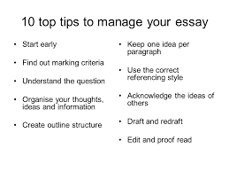 top tips to manage your essay start early out marking  1 10