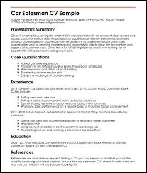 Sales Summary Resume Car Salesman Cv Sample Myperfectcv