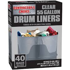 55 gallon drum lowes. Simple Lowes Contractoru0027s Choice 40Count 55Gallon Clear Outdoor Construction Plastic  Trash Bag For 55 Gallon Drum Lowes