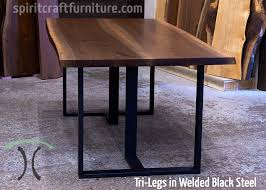 metal and wood furniture. Custom Made 1 X 3 Profile Tri-legs, Steel Painted Black With Live Edge Metal And Wood Furniture