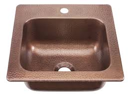 sinkology kpd 1515ha seurat drop in handmade pure solid copper 15 in 1 hole bar copper sink in antique copper bar sinks com
