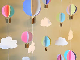 hot air balloon garland up up and away baby shower decor birthday party decor