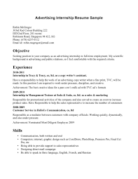 Remarkable Of Internship Resume For Advertising Job And Work