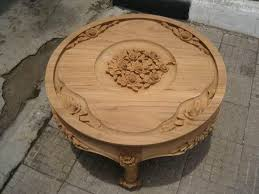 Unfinished Classic Furniture Low Coffee table with small flower carved  Indonesia Classic Reproduction Furniture