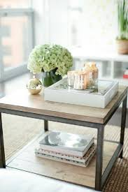 Creative Idea:Square Brown Coffee Table Decor With Beautiful White Flowers  And Books Underneath Cool