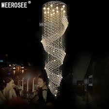 meerosee long size crystal chandelier light fixture for lobby staircase re stairs foyer large crystal lmap stair lighting md2210 ceiling light long