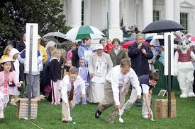 photos the white house easter egg roll throughout history  president george w bush and mrs laura bush at the start of an easter