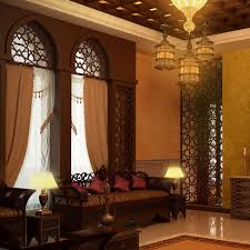 Interior:Comfy Moroccan Lounge Room With Green Sofa And Bronze Hanging Lamp  Idea Antique Style