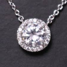 2 ct round diamond halo pendant necklace 14k white gold plated 16 chain ww22