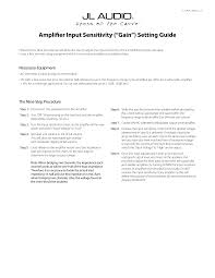 "Amplifier Input Sensitivity (""Gain"") Setting Guide"
