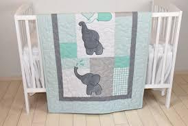 baby quilt elephant blanket mint green gray crib bedding safari nursery