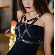 harness gothic y fashion punk pu leather harness star pentagram pentacle star waist straps belts suspenders