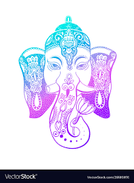 Lord Ganesha Head With Lotus Drawing Indian