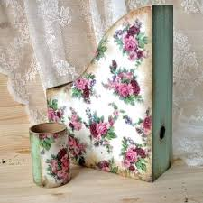 shabby chic office accessories. Shabby Chic Office Supplies The Set Wooden Magazine Rack Vintage Style Roses Accessories S