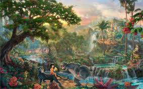 living room home wall decoration fabric poster paintings the jungle book cartoon jungle mowgli the
