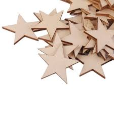25 pcs natural unfinished blank wood wooden stars star decor crafts