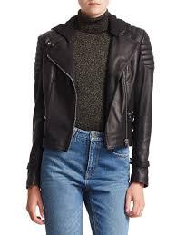 a l c women s black knight leather hooded moto jacket