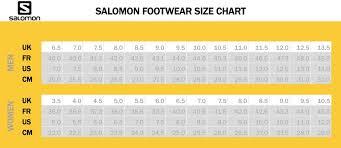 Salomon Boot Size Chart Salomon Hiking Shoe Size Chart Best Picture Of Chart