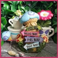 fairy garden fun alice in wonderland tea cups and sign set of 3 mini figurines