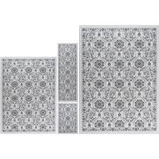 tayse rugs majesty ivory 8 ft x 10 ft 4 piece rug set