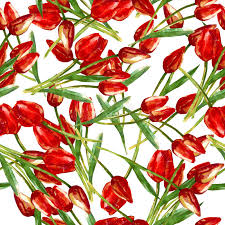 watercolor seamless pattern with painted red tulips stock ilration ilration of flower graphic