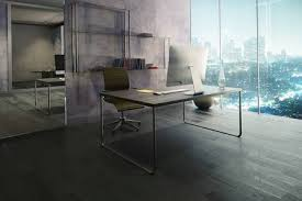 3D Office Design New Side View Of Office Interior With Workplace Wooden Floor Mirrow