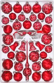 Christbaumschmuck Sortiment Rokoko 39 Teilig Weihnachtsbaumschmuck Rot Gefrostet Silberne Ranken