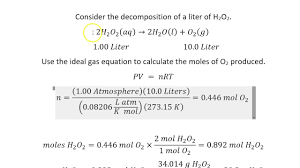 concentration of hydrogen peroxide in a 10 volume solution an interesting stoichiometry problem