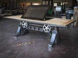 industrial antique furniture. bronx table with pop up monitor by vintage industrial furniture antique k