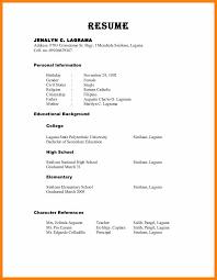 Hobbies For Resume 100 Resume References Sample Cv Simple 87