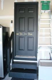 thrifty decor black interior doors in the basement