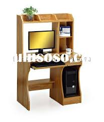 study table simple computer desk designs in wood brown color cpu green plant white background awesome amazing