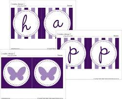 Purple Happy Birthday Banner Purple Butterfly Party Happy Birthday Banner Printable Instant