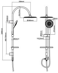 Dusch Set Brauseset Duschgarnitur Dusch Brause Set Duschstange 100cm Regendusche 18cm Kopfbrause Mit 5 Funktionen Duschsystem überkopfbrause