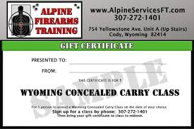 Gift Certificate Sign Wyoming Conceal Carry Class Gift Certificate