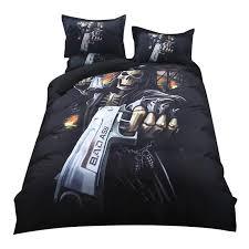 2018 gothic skull print bedding set polyester microfiber duvet cover set twin queen king pillowcases linens zebra print bedding tropical bedding from