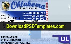 Template Drivers Editable License ok Oklahoma Psd