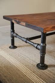 diy industrial wood plank metal piping coffee table