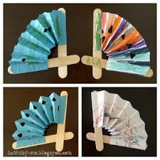 paper fan craft. little fans made with paper and popsicle sticks fan craft