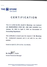 Certification Of Employment Sample Certificate Employment Sample