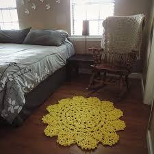 small yellow doily round area throw rug crochet rustic rug sha