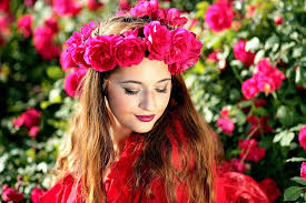 375x667px   free download   HD wallpaper: woman wearing pink rose headdress  and red top, girl, roses, wreath   Wallpaper Flare