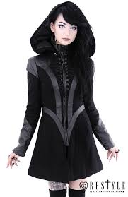 black winter jacket with pockets detachable hood future goth coat