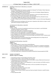 Financial Analyst Resume Objective Accountant Financial Analyst Resume Samples Velvet Jobs 51