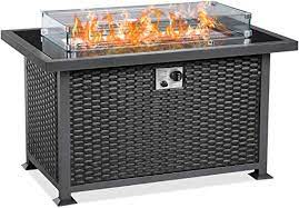 Amazon Com U Max 44 Inch Outdoor Auto Ignition Propane Gas Fire Pit Table 50 000 Btu Csa Certificate Gas Firepit Aluminum Frame Wicker Pe Rattan With Glass Wind Guard Clear Arctic Glass Garden