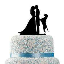 Buythrow Funny Wedding Cake Topper With Dog Silhouette Groom And