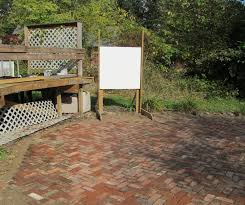 dry setting a patio with antique bricks