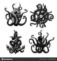černobílé Tetování S Chobotnice Chapadla S Helmu Kotvy A Kormidla